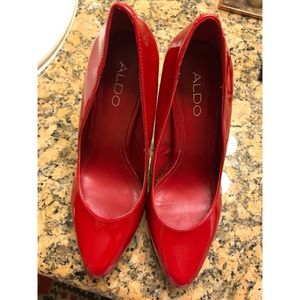 Aldo red leather pumps